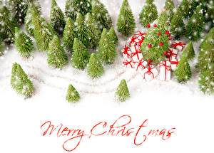 Photo Christmas Winter English Snow Spruce Present Word - Lettering