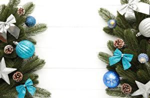 Hintergrundbilder Neujahr Bretter Ast Kugeln Schleife Zapfen Vorlage Grußkarte Stern-Dekoration