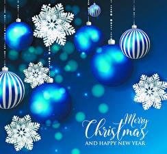 Bilder Neujahr Text Englischer Kugeln Schneeflocken