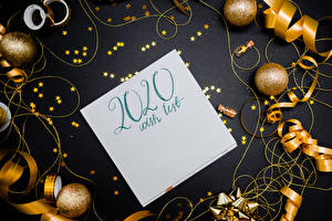 Bilder Neujahr Text Vorlage Grußkarte Kugeln Kleine Sterne Englisch