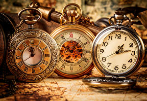 Pictures Clock face Clock Pocket watch Closeup Three 3