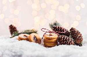 Hintergrundbilder Kekse Neujahr Schnee Zapfen