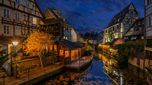 Bilder Abend Frankreich Gebäude Kanal Straßenlaterne Colmar