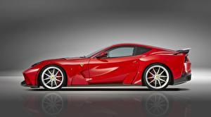 Bilder Ferrari Seitlich Rot Metallisch Coupe Novitec, N-Largo, Superfast, 812, 2019 Autos