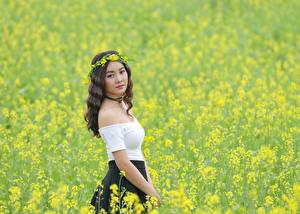Picture Fields Oilseed rape Asiatic Wreath young woman