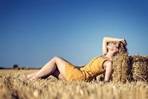 Wallpapers Fields Straw Esting Legs Frock Blurred background young woman