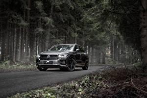 Hintergrundbilder Wald Volkswagen Graue Metallisch Softroader Touareg, ABT, R-Line, V8, TDI, 2019 auto