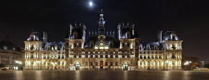 Pictures France Night time Town square Paris Street lights hotel de Ville