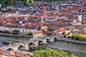 Fotos Deutschland Fluss Brücke Gebäude Bayern Von oben  Städte