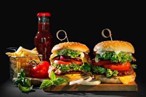 Bilder Burger Fast food Gemüse Ketchup das Essen