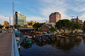 Fotos Gebäude Fluss Bootssteg Boot Vereinigte Staaten Wisconsin, Milwaukee River Städte