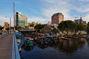 Papel de Parede Desktop Edifício Rio Píer Barcos Estados Unidos Wisconsin, Milwaukee River Cidades