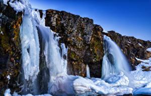 Hintergrundbilder Island Wasserfall Felsen Eis Akureyri Natur