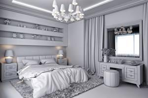 Picture Interior Bedroom Chandelier Window Bed Lamp Design 3D Graphics