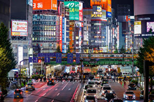 Images Japan Tokyo Building Roads Evening Megalopolis Cities