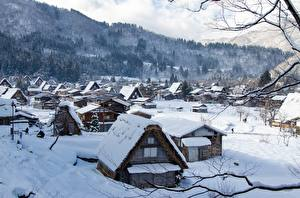 Wallpapers Japan Winter Building Village Snow Shirakawa Go, Gifu Prefecture Cities