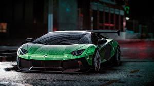 Fotos Lamborghini Need for Speed Grün Tropfen Aventador Liberty Walk, 2015 game art Autos Spiele