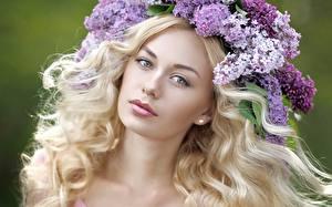 Hintergrundbilder Flieder Gesicht Starren Haar Blondine Schönes Mädchens