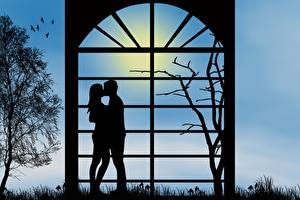 Images Love Lovers Silhouettes Branches 2 On a date Kisses