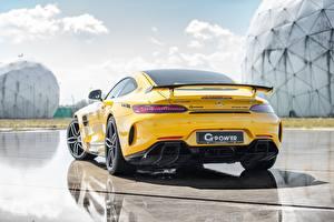 Hintergrundbilder Mercedes-Benz Hinten Gelb G-Power AMG GT R 2019 GP 63 Bi-Turbo Autos