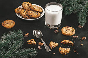 Image Milk Cookies Branches Highball glass Spoon Food