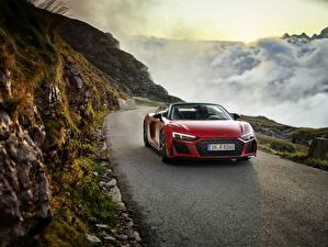 Fotos Gebirge Audi Rot Metallisch Fahrendes Roadster R8, Spyder, V10, 2020, RWD