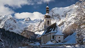 Hintergrundbilder Berg Kirchengebäude Deutschland Schnee St. Sebastian church, Ramsau