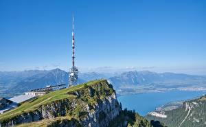 Bilder Berg See Schweiz Felsen Alpen lake Thun, mount Niederhorn