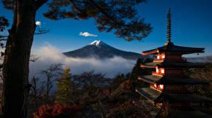 Fotos Berg Pagoden Japan Fuji Vulkan Bäume Mount Fuji, Honshu