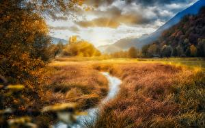Images Mountain River Fields Autumn Clouds Nature
