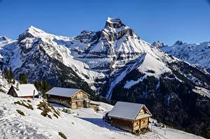 Fotos Berg Winter Schweiz Gebäude Schnee Alpen