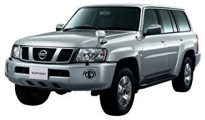 Bakgrundsbilder på skrivbordet Nissan Vit bakgrund Grå Metallisk Safari, Y61 Bilar