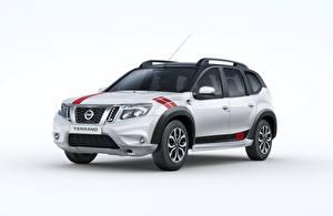 Hintergrundbilder Nissan Weißer hintergrund Graue Metallisch Crossover Terrano, Sport India, 2018 automobil