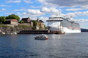 Fotos Norwegen Oslo Bootssteg Motorboot Kreuzfahrtschiff Regal Princess