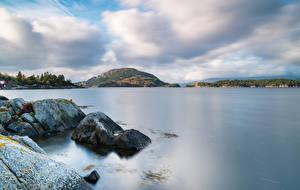 Fotos Norwegen Stein Küste Bucht Uskedal Natur