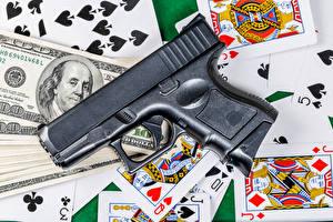 Fotos Pistolen Spielkarte Dollars Geld