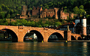 Bilder Fluss Brücke Burg Deutschland Heidelberg castle, Neckar river