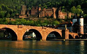 Bilder Fluss Brücke Burg Deutschland Heidelberg castle, Neckar river Städte