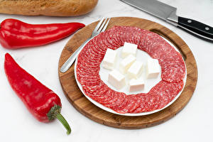 Picture Sausage Cheese Chili pepper Cutting board Sliced food Food