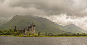 Picture Scotland Castle Ruins Lake Mountains Moss Kilchurn Castle Loch Awe Nature