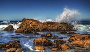 Pictures Sea Stone Waves Water splash HDR Nature