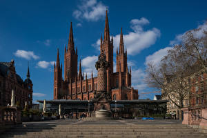 Fotos Himmel Kirche Deutschland Wolke Marktkirche, Wiesbaden Städte