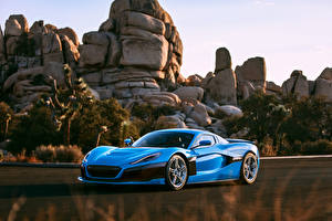 Fotos Steine Blau Metallisch Coupe Rimac, C-Two, California Edition automobil