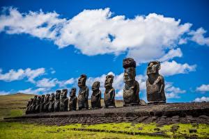 Fotos Stein Skulpturen Chile Easter island, Moai