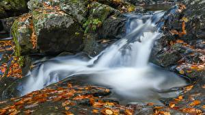 Images Stone Waterfalls Autumn Leaf Streams Nature