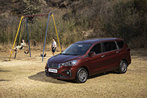 Hintergrundbilder Suzuki Ein Van Dunkelrote 2019 Ertiga GLX