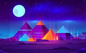 Fotos Synthwave Mond Nacht Pyramide bauwerk Fantasy