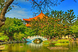 Fotos Taiwan Garten Teich Tempel Brücke HDR Bäume Chiang Kai-shek Memorial Taipei