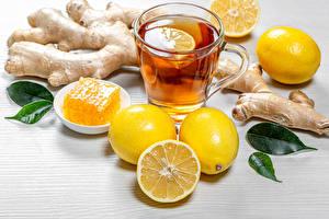 Hintergrundbilder Tee Zitrone Honig Ingwer Becher