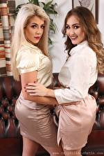 Pictures Tillie Model Rachelle Summers Two Blonde girl Brown haired Staring Smile Hands Girls